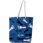 BLUE #2 Full Print Rope Handle Tote (Large)