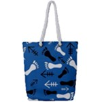 BLUE #2 Full Print Rope Handle Tote (Small)