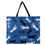 BLUE #2 Zipper Large Tote Bag