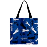 BLUE #2 Zipper Grocery Tote Bag