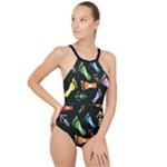 black High Neck One Piece Swimsuit
