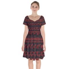 Burgundy Design With Black Zig Zag Pattern Created By Flipstylez Designs Short Sleeve Bardot Dress by flipstylezfashionsLLC