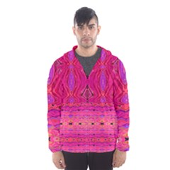 Pink And Purple And Peacock Design By Flipstylez Designs  Hooded Windbreaker (men) by flipstylezdes