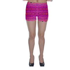 Pink And Purple And Peacock Created By Flipstylez Designs Skinny Shorts by flipstylezdes