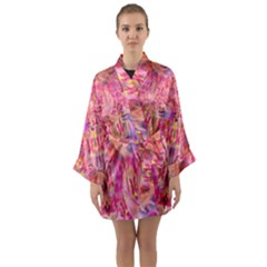 Pink And Purple Beautiful Golden And Purple Butterflies Created By Flipstylez Designs Long Sleeve Kimono Robe