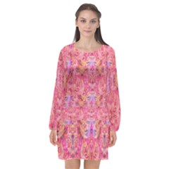Pink Purple Beautiful Golden Butterfly Created By Flipstylez Designs Long Sleeve Chiffon Shift Dress  by flipstylezdes