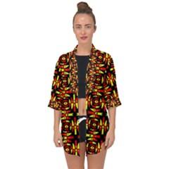 Red Black Yellow 9 Open Front Chiffon Kimono