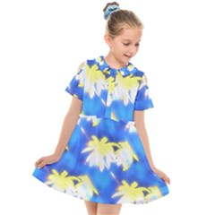 Palm Trees Bright Blue Green Kids  Short Sleeve Shirt Dress by CrypticFragmentsColors