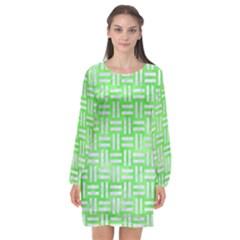 Woven1 White Marble & Green Watercolor Long Sleeve Chiffon Shift Dress  by trendistuff