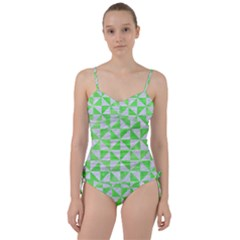 Triangle1 White Marble & Green Watercolor Sweetheart Tankini Set
