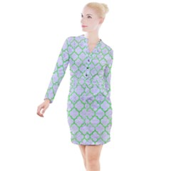 Tile1 (r) White Marble & Green Watercolor Button Long Sleeve Dress by trendistuff