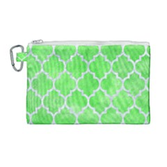 Tile1 White Marble & Green Watercolor Canvas Cosmetic Bag (large) by trendistuff