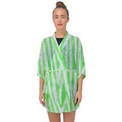 Skin4 White Marble & Green Watercolor (r) Half Sleeve Chiffon Kimono by trendistuff