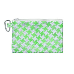 Houndstooth2 White Marble & Green Watercolor Canvas Cosmetic Bag (medium) by trendistuff