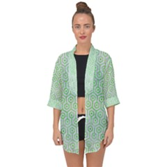 Hexagon1 White Marble & Green Watercolor (r) Open Front Chiffon Kimono by trendistuff