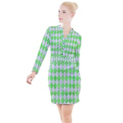 Diamond1 White Marble & Green Watercolor Button Long Sleeve Dress by trendistuff