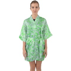 Damask2 White Marble & Green Watercolor Quarter Sleeve Kimono Robe by trendistuff