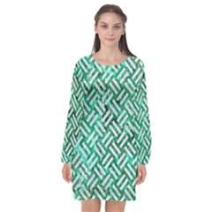 Woven2 White Marble & Green Marble Long Sleeve Chiffon Shift Dress  by trendistuff