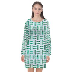 Woven1 White Marble & Green Marble (r) Long Sleeve Chiffon Shift Dress