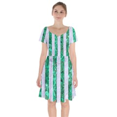 Stripes1 White Marble & Green Marble Short Sleeve Bardot Dress by trendistuff