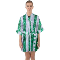 Stripes1 White Marble & Green Marble Quarter Sleeve Kimono Robe by trendistuff