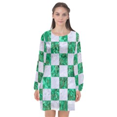 Square1 White Marble & Green Marble Long Sleeve Chiffon Shift Dress  by trendistuff