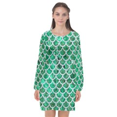 Scales1 White Marble & Green Marble Long Sleeve Chiffon Shift Dress  by trendistuff