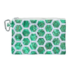 Hexagon2 White Marble & Green Marble Canvas Cosmetic Bag (large) by trendistuff