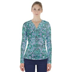 Damask2 White Marble & Green Marble (r) V Neck Long Sleeve Top by trendistuff
