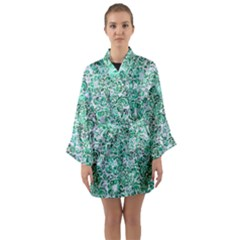 Damask2 White Marble & Green Marble (r) Long Sleeve Kimono Robe