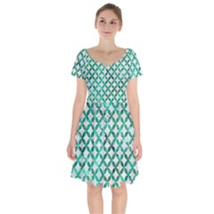 Circles3 White Marble & Green Marble (r) Short Sleeve Bardot Dress by trendistuff