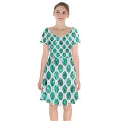 Circles2 White Marble & Green Marble (r) Short Sleeve Bardot Dress by trendistuff