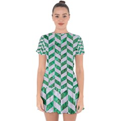 Chevron1 White Marble & Green Marble Drop Hem Mini Chiffon Dress by trendistuff