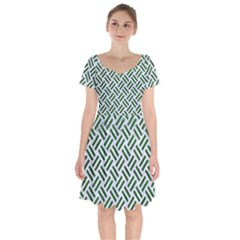 Woven2 White Marble & Green Leather (r) Short Sleeve Bardot Dress by trendistuff