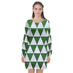 Triangle3 White Marble & Green Leather Long Sleeve Chiffon Shift Dress