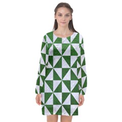 Triangle1 White Marble & Green Leather Long Sleeve Chiffon Shift Dress