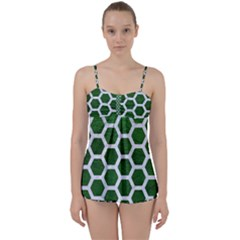 Hexagon2 White Marble & Green Leather Babydoll Tankini Set