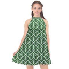 Hexagon1 White Marble & Green Leather Halter Neckline Chiffon Dress  by trendistuff