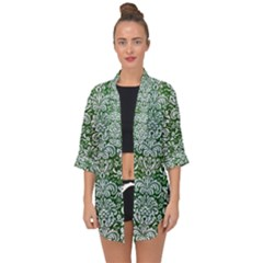 Damask2 White Marble & Green Leather Open Front Chiffon Kimono by trendistuff