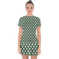 Circles3 White Marble & Green Leather (r) Drop Hem Mini Chiffon Dress by trendistuff