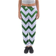 Chevron9 White Marble & Green Leather (r) Women s Jogger Sweatpants by trendistuff