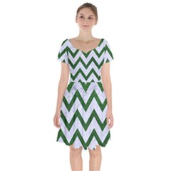 Chevron9 White Marble & Green Leather (r) Short Sleeve Bardot Dress by trendistuff