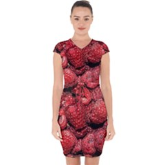 Red Raspberries Capsleeve Drawstring Dress  by FunnyCow