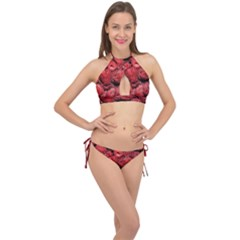 Red Raspberries Cross Front Halter Bikini Set by FunnyCow