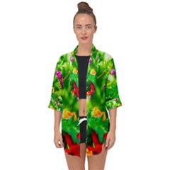 Bleeding Heart Flowers In Spring Open Front Chiffon Kimono by FunnyCow