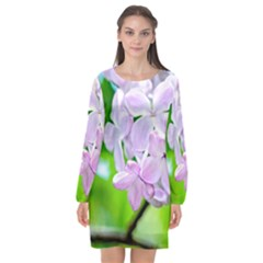 Elegant Pink Lilacs In Spring Long Sleeve Chiffon Shift Dress  by FunnyCow