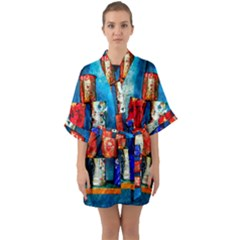 Soup Cans   After The Lunch Quarter Sleeve Kimono Robe by FunnyCow