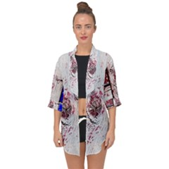 Abstract Art Of Grunge Wood Open Front Chiffon Kimono by FunnyCow