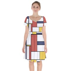 Neoplasticism Style Art Short Sleeve Bardot Dress by FunnyCow