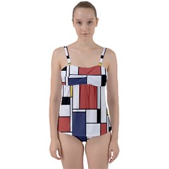 Neoplasticism Abstract Art Twist Front Tankini Set by FunnyCow